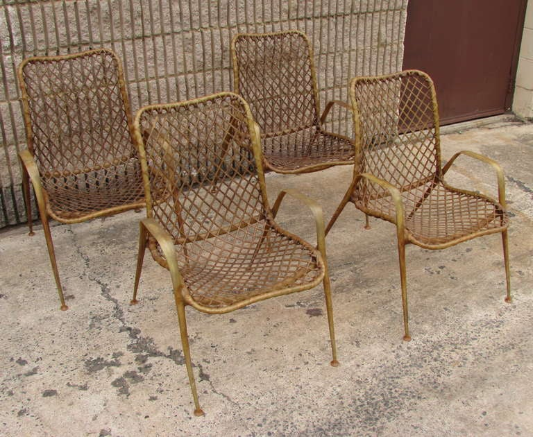 Mid-Century Modern Set of Four Resin String Chairs For Sale