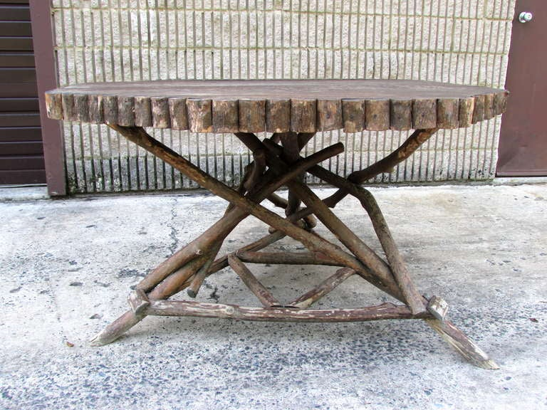 American Rustic Twig Dining Table For Sale