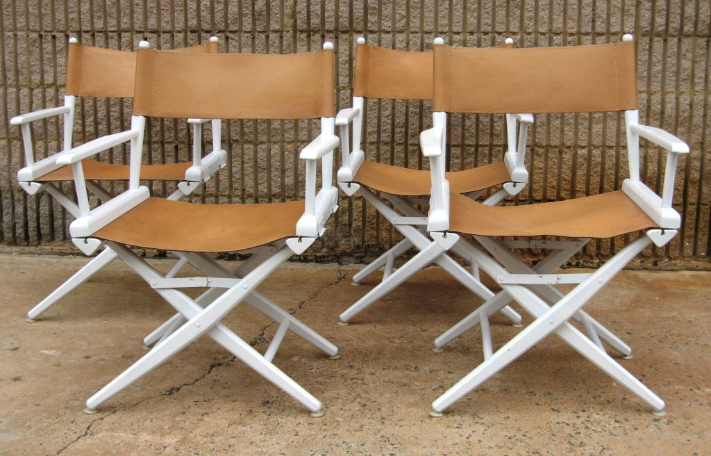 set of four leather director chairs 2