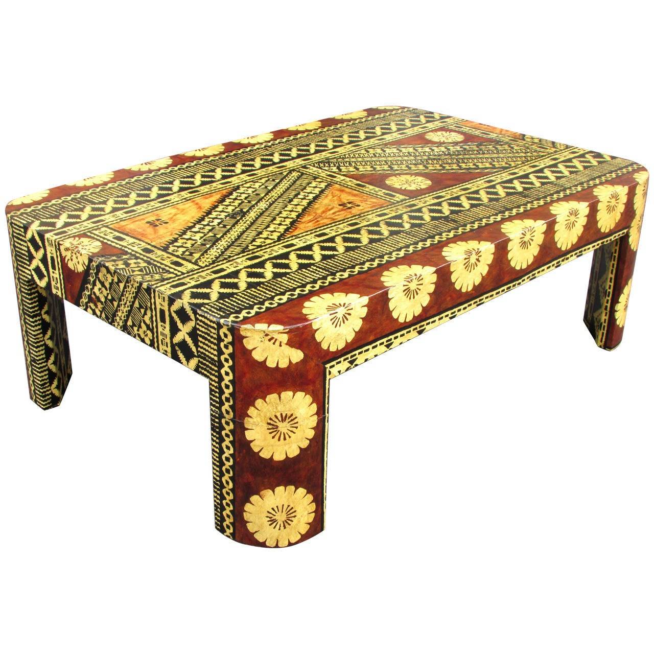 Tapa Cloth Coffee Table After Karl Springer At 1stdibs