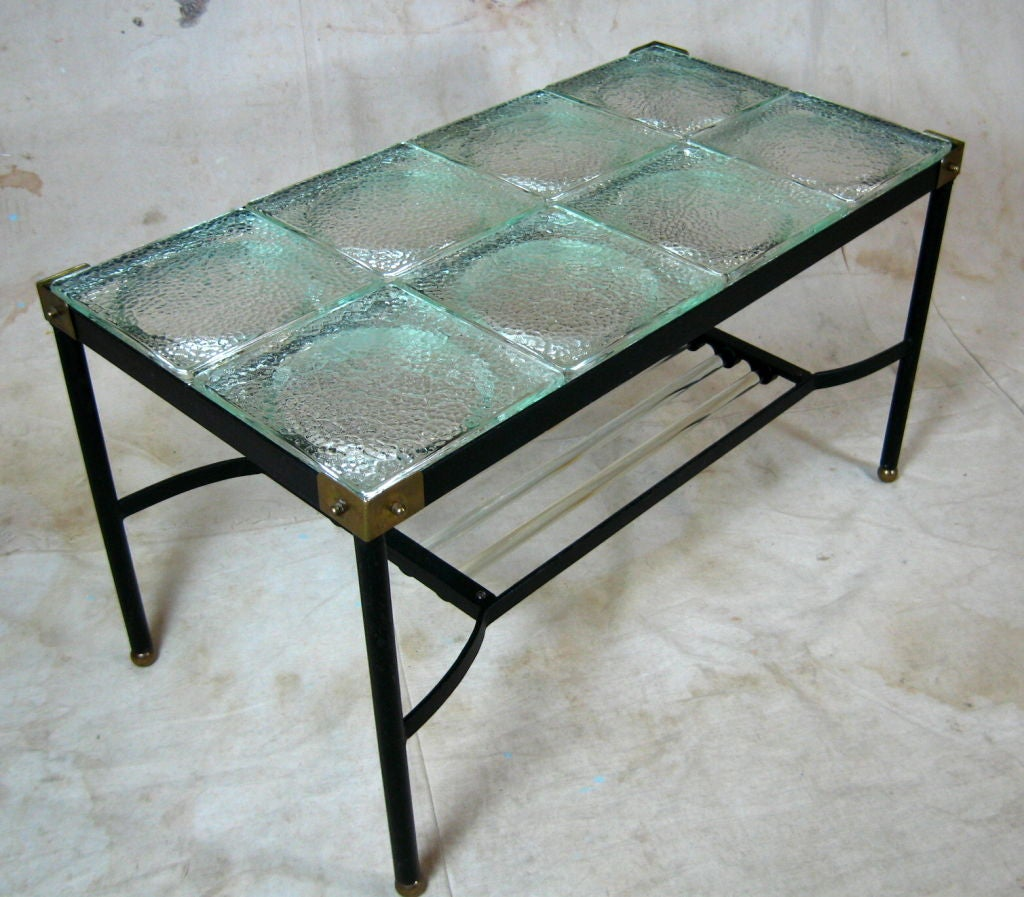 Glass And Iron Cocktail Table By Jacques Adnet At 1stdibs