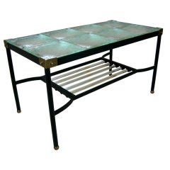 Glass and Iron Cocktail Table by Jacques Adnet