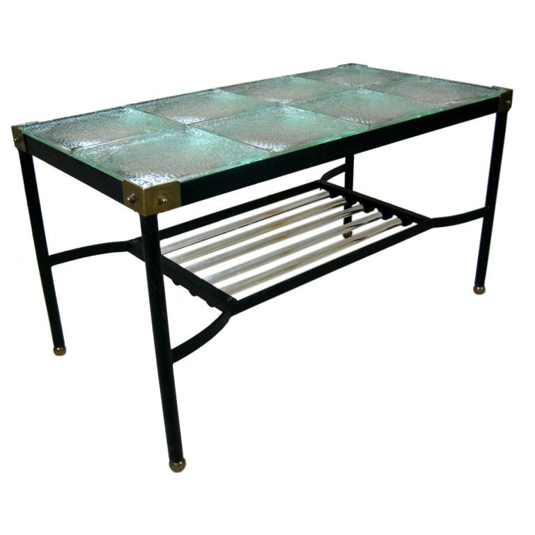 glass and iron cocktail table by jacques adnet for sale at. Black Bedroom Furniture Sets. Home Design Ideas