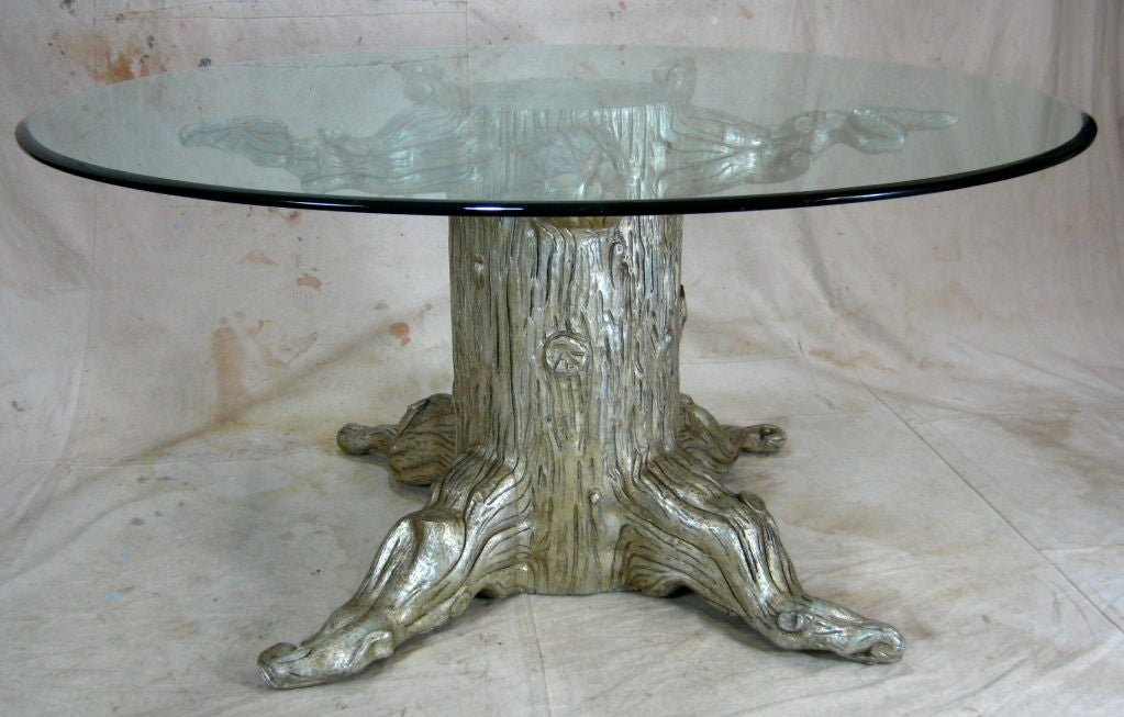 Tree trunk dining table by david barrett at 1stdibs for Tree trunk dining table