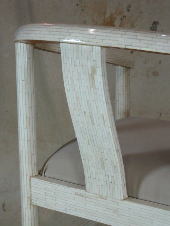 Tessellated Bone Horseshoe Chairs For Sale 4