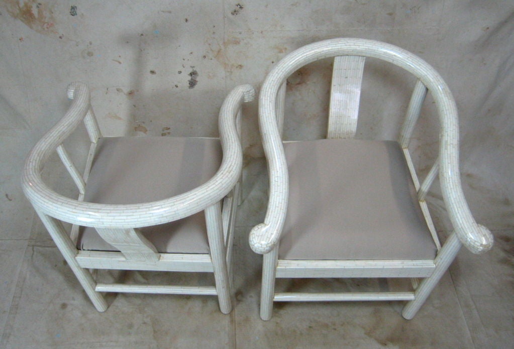 Hollywood Regency Tessellated Bone Horseshoe Chairs For Sale