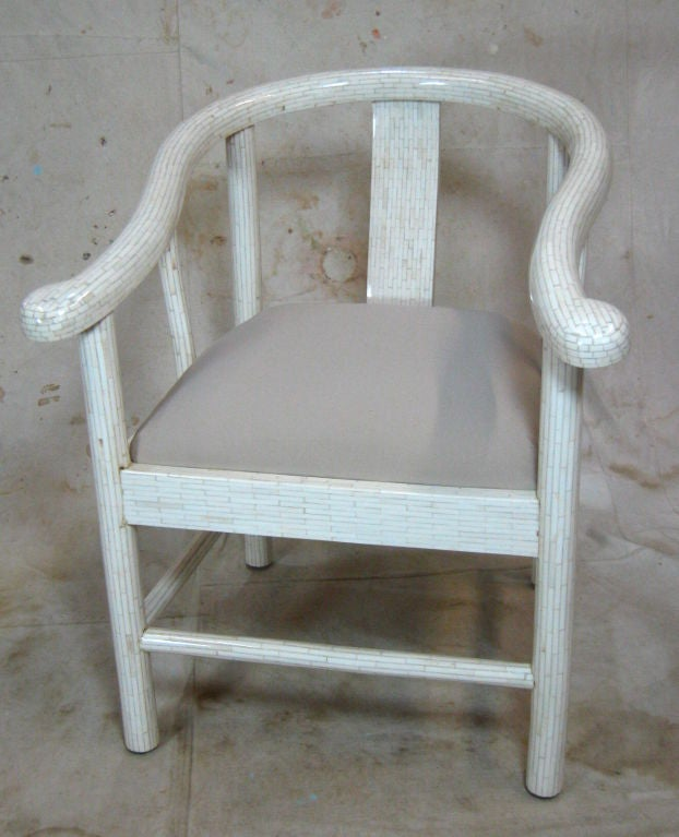 Colombian Tessellated Bone Horseshoe Chairs For Sale