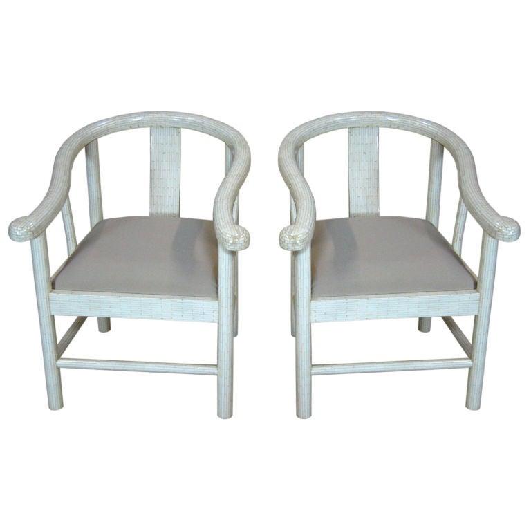 Tessellated Bone Horseshoe Chairs For Sale