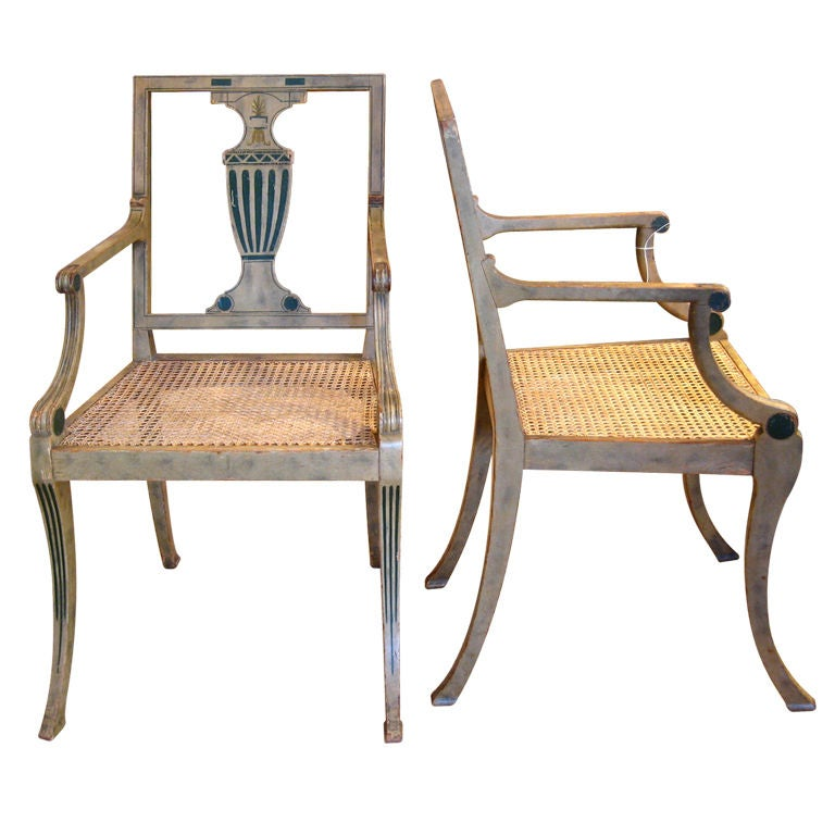 Pair Neoclassical Klismos Armchairs At 1stdibs