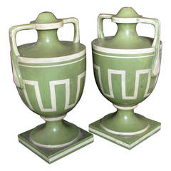 Pair of Painted Urn Architectural Elements