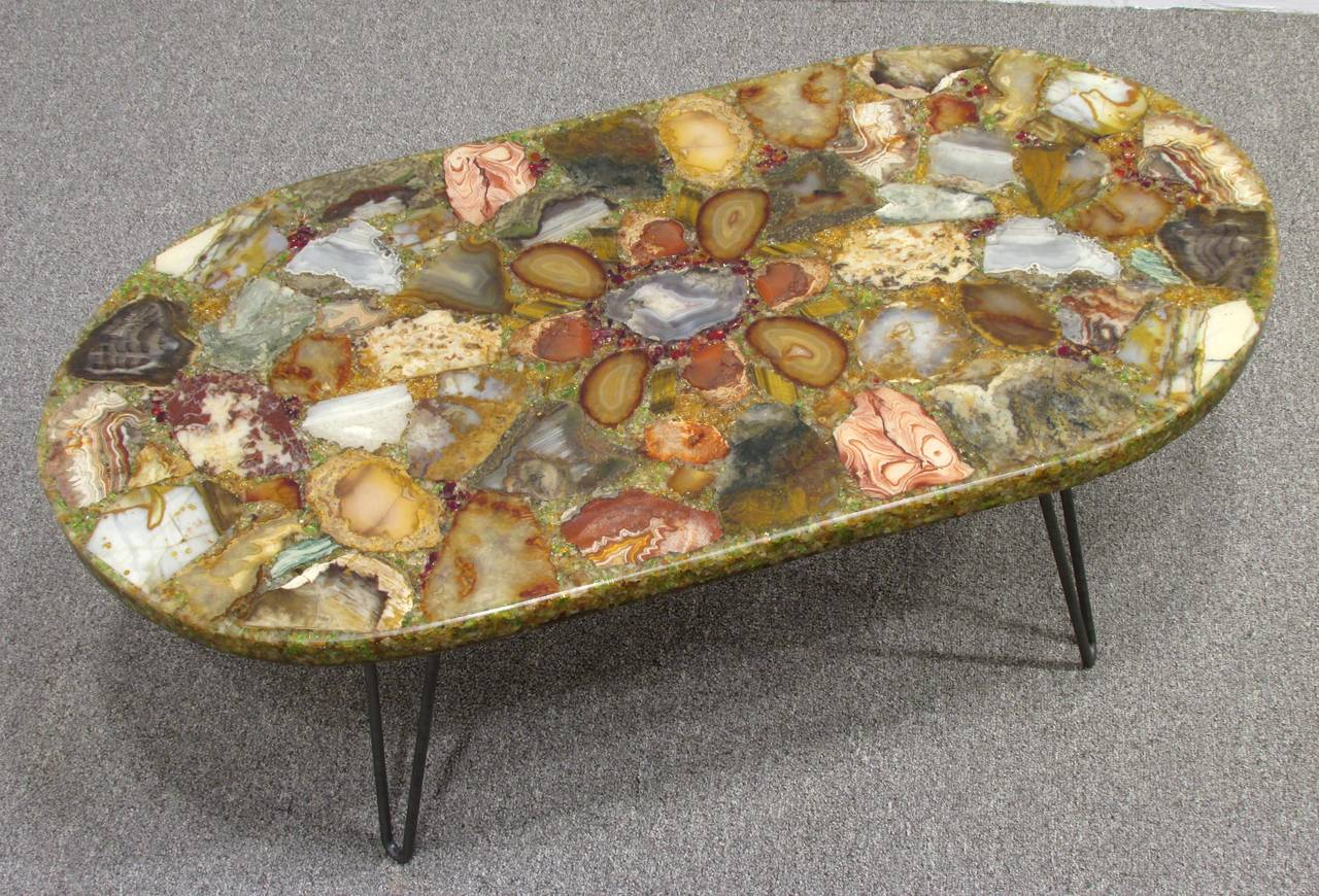 American Petrified Wood Specimen Coffee Table For Sale