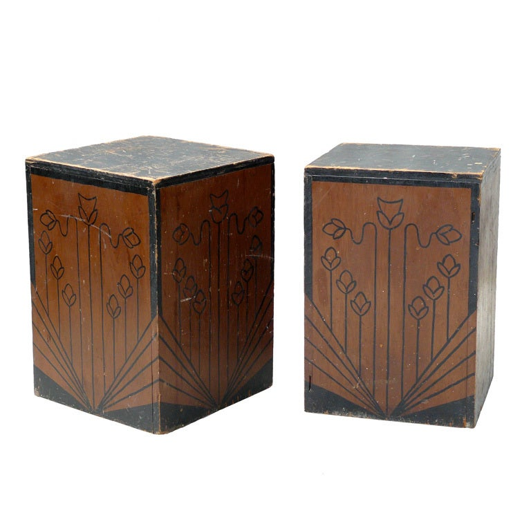 Pair Of 40s Hand Painted Art Nouveau Folk Pedestals At 1stdibs