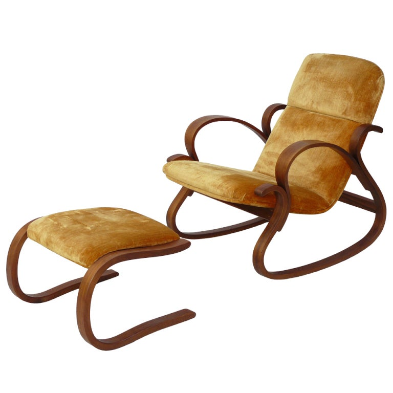 Early Rare Peter Danko Bentwood Rocking Chair and Ottoman at 1stdibs