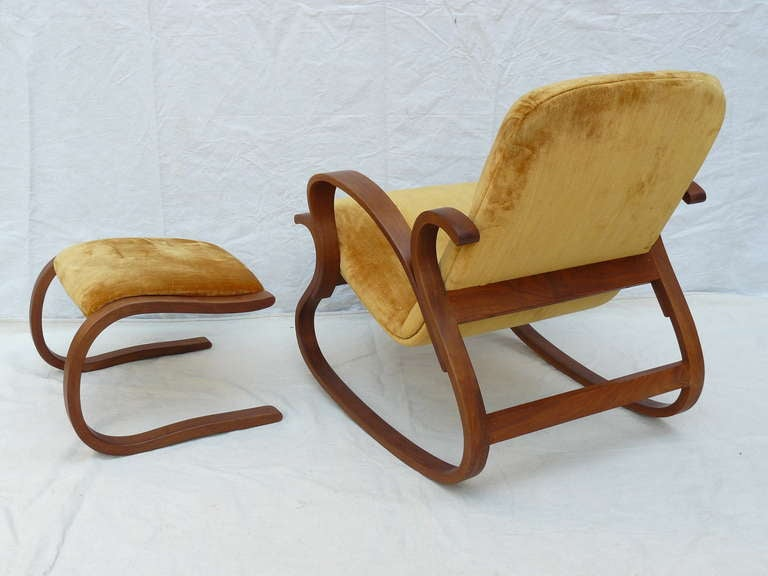 Early Rare Peter Danko Bentwood Rocking Chair And Ottoman