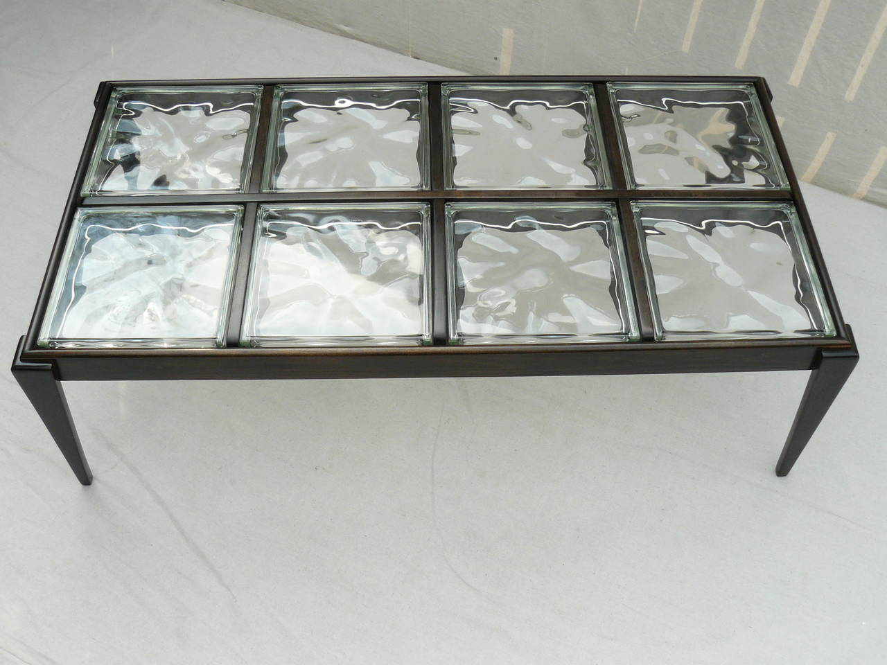 40s glass block coffee table at 1stdibs for Glass cube coffee table