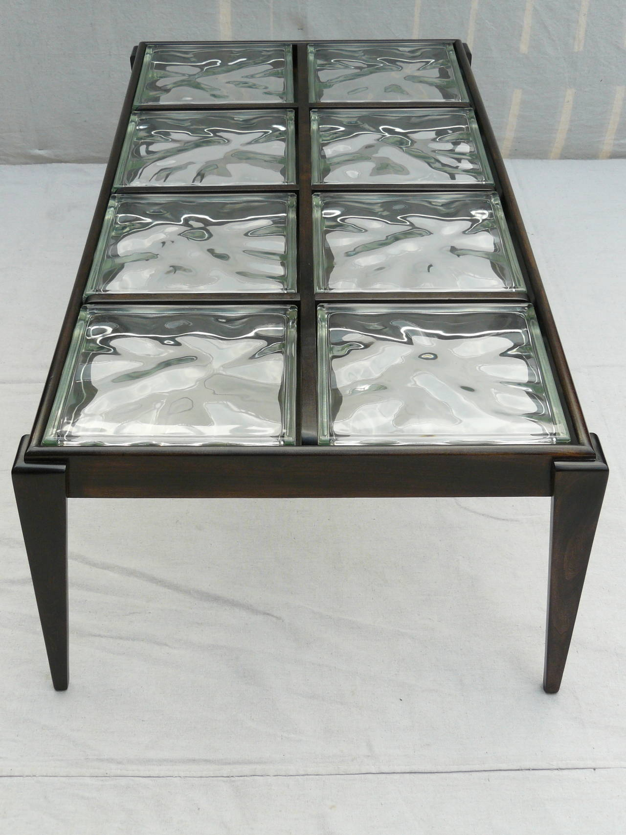40s glass block coffee table for sale at 1stdibs for Glass cube coffee table