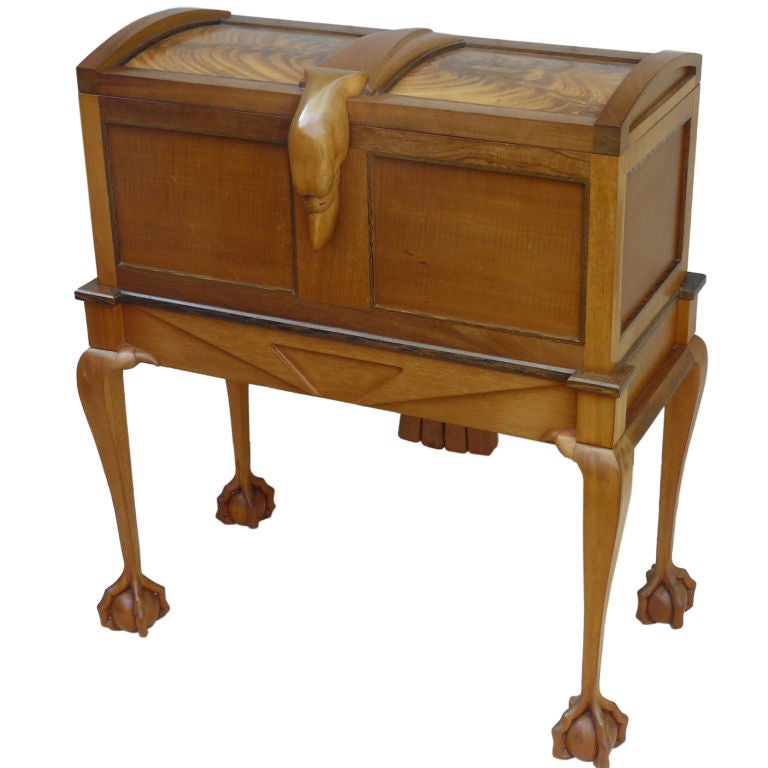 Exotic Wood Artisan Eagle Motif Bar Cabinet W Ball And Claw Feet At 1stdibs