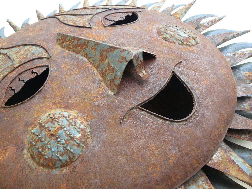 Large s artisan rusted sheet metal sun wall sculpture at