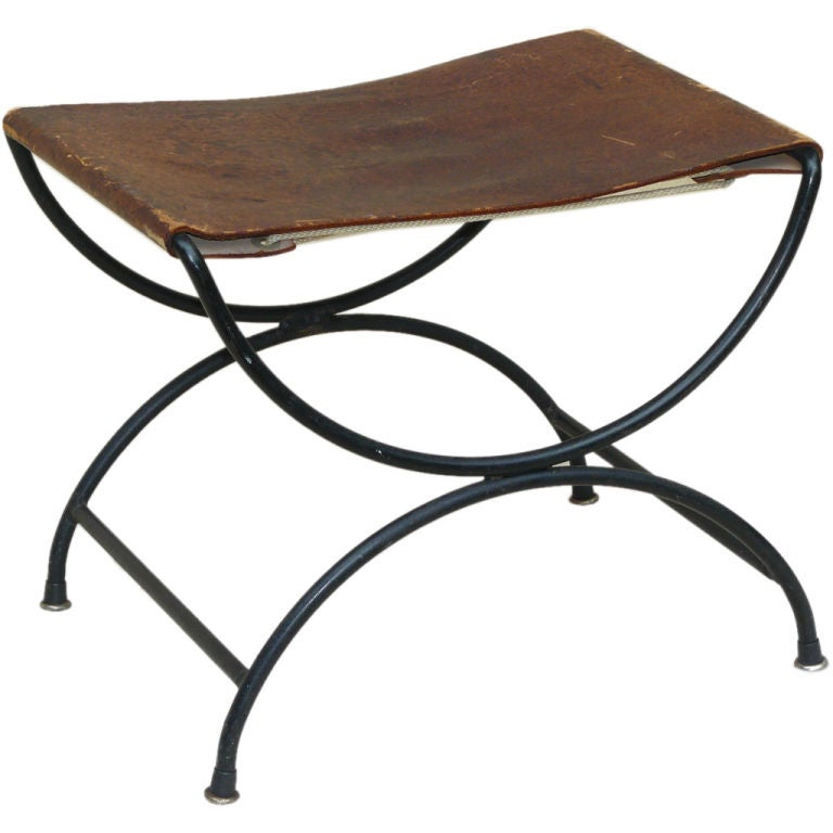 50s California Iron And Leather Sling Stool At 1stdibs