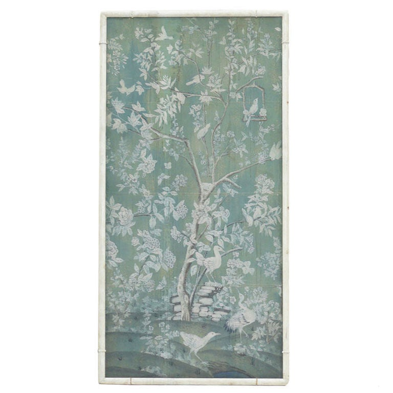 Large 30s French Chinoiserie Hand Painted Framed Wallpaper