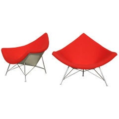 60s Pair of George Nelson for Herman Miller Red Coconut Chairs