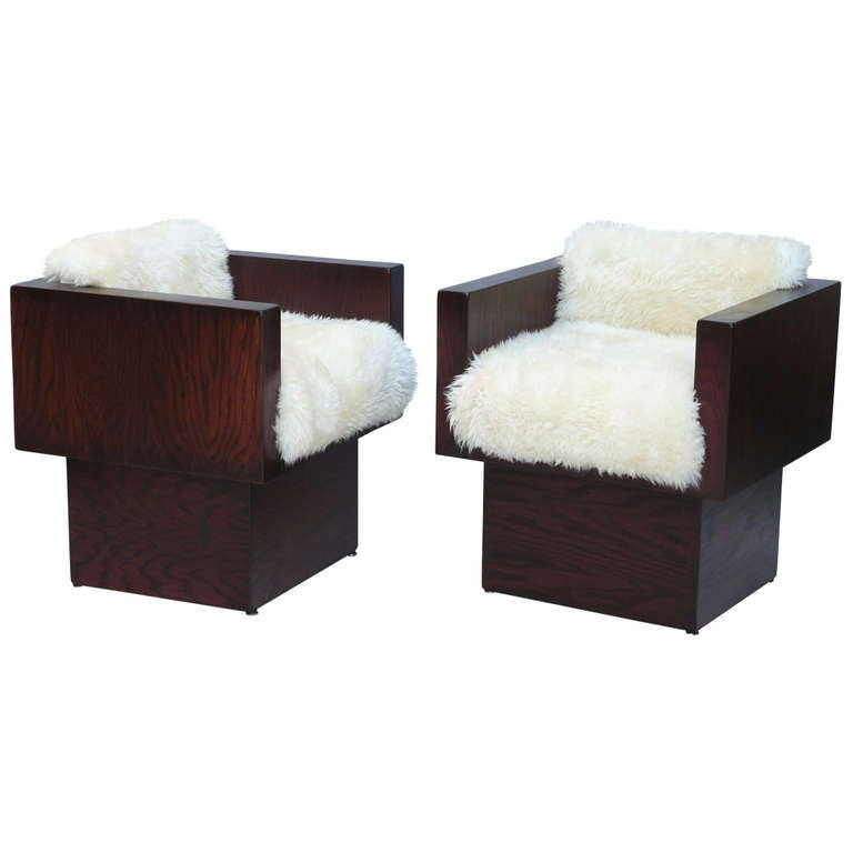 Pair of 70s Rustic Plywood and Sheepskin Cube Chairs at