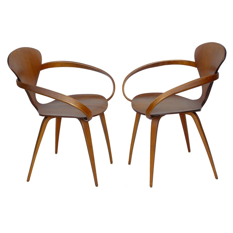 Pair of norman cherner for plycraft bentwood pretzel armchairs at