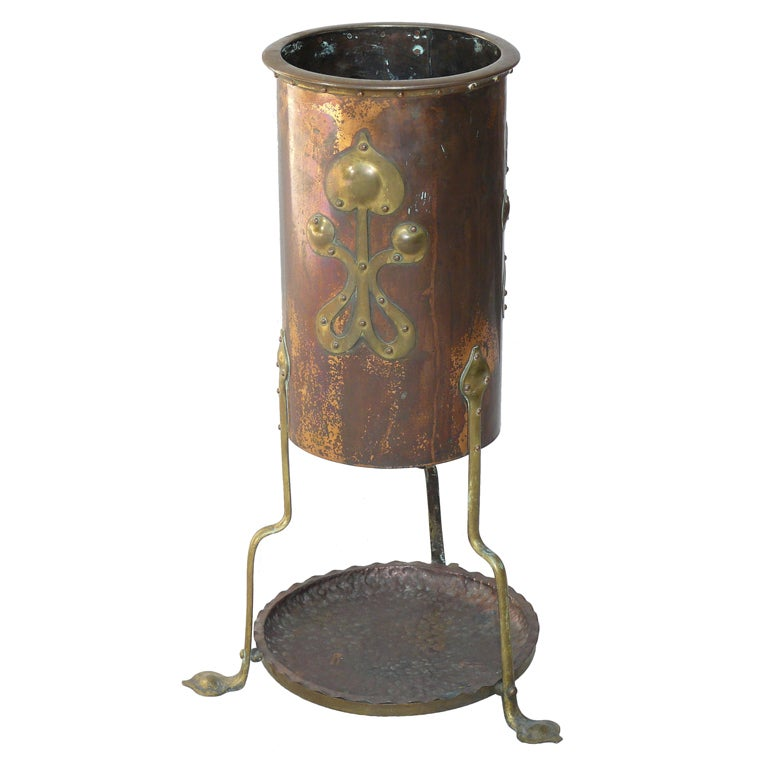 Arts And Crafts Hammered Copper And Brass Umbrella Stand