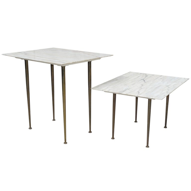 Nail Marble Top Coffee Table: Pair Of 50s Italian Marble Top Tables With Brass Legs At