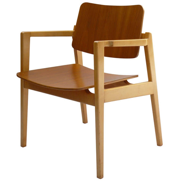 early jens risom bentwood walnut and maple arm chair at 1stdibs