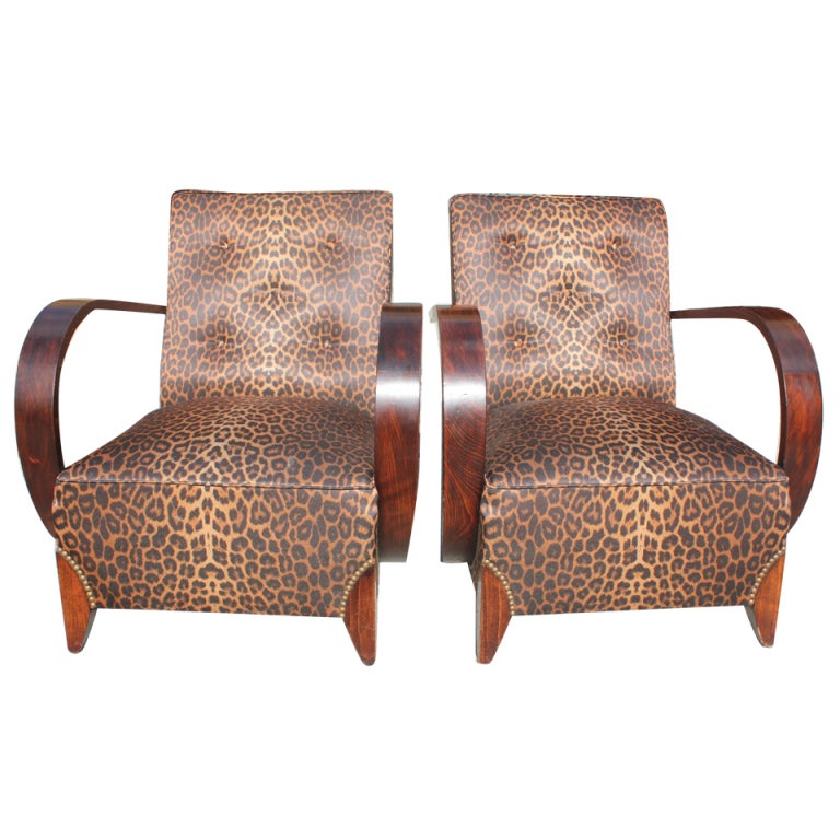 Pair French Art Deco Palisander Curved Arm Club Chairs, Leopard Print 1