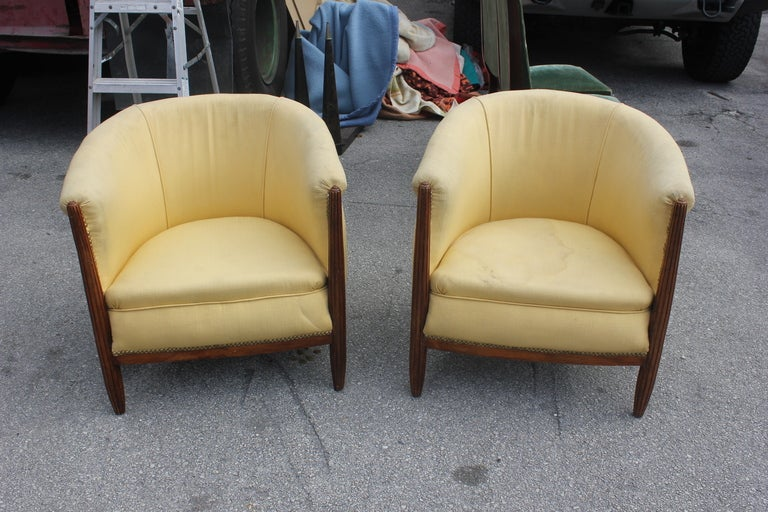 Pair French Art Deco Carved Walnut Club Chairs 2
