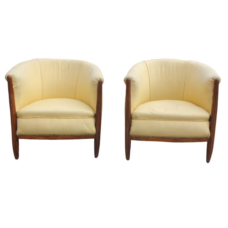 Pair French Art Deco Carved Walnut Club Chairs 1