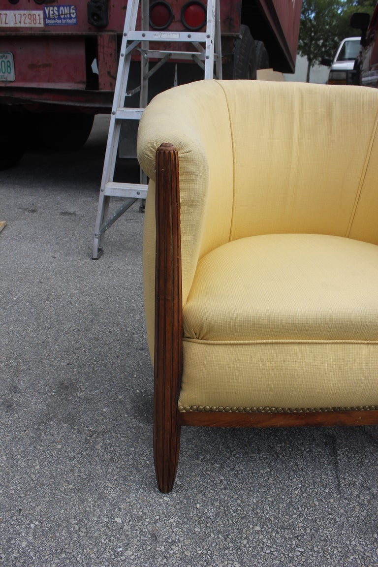 Pair French Art Deco Carved Walnut Club Chairs 5