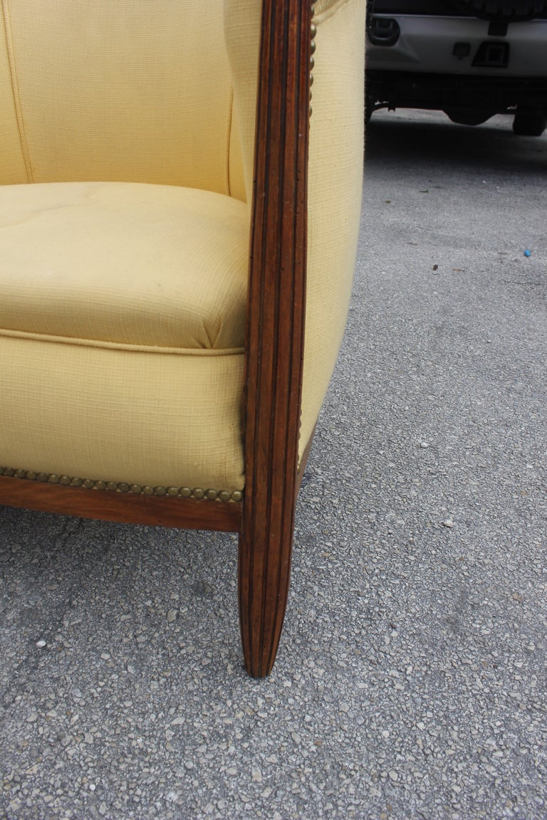 Pair French Art Deco Carved Walnut Club Chairs 9