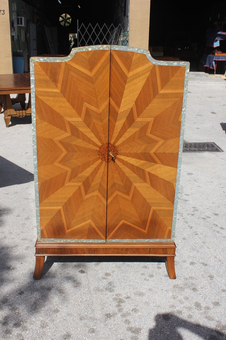 Spectacular French Art Deco Palisander Sunburst Armoirette M-O-P Border 4