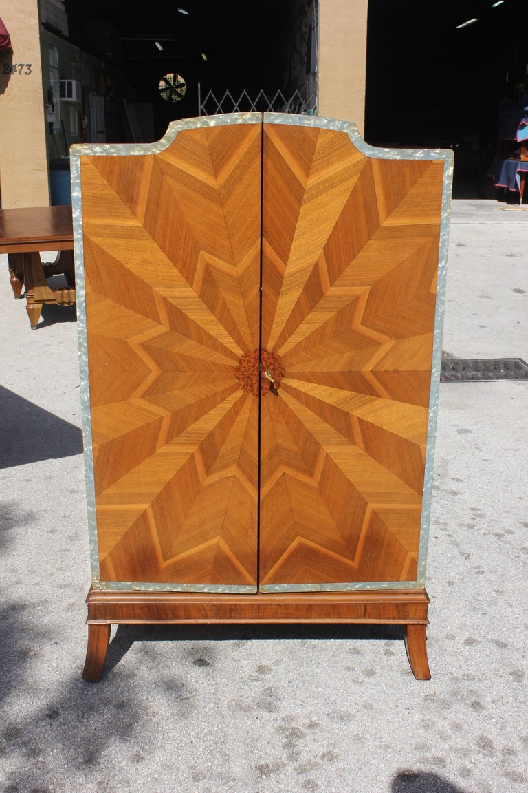 Spectacular French Art Deco Palisander Sunburst Armoirette M-O-P Border 2