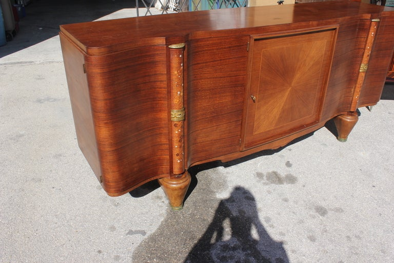French Art Deco Palisander Sunburst Buffet Mother Of