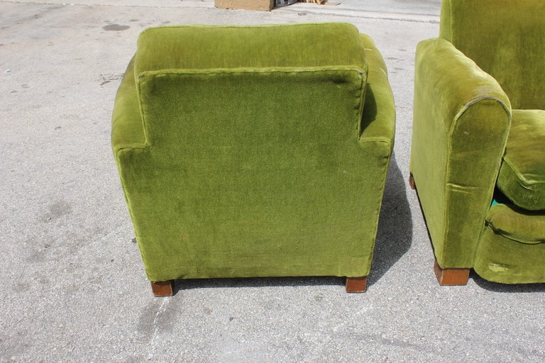 Pair French Art Deco Classic Club Chairs image 3