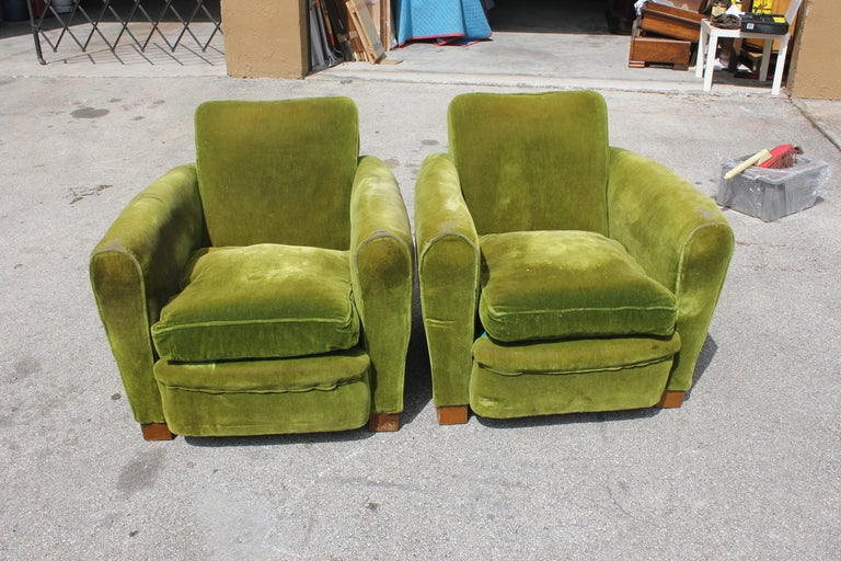 Pair French Art Deco Classic Club Chairs image 2