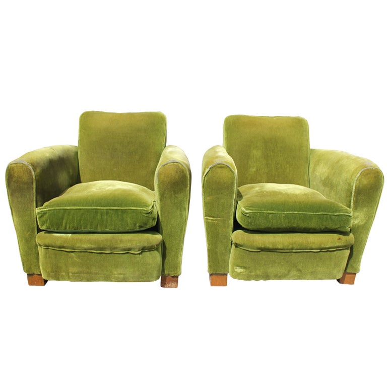 Pair French Art Deco Classic Club Chairs