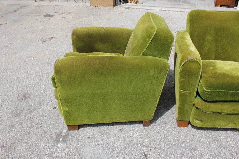 Pair French Art Deco Classic Club Chairs image 4