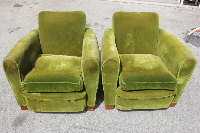 Pair French Art Deco Classic Club Chairs image 5