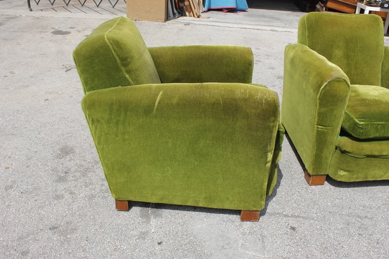 Pair French Art Deco Classic Club Chairs image 6