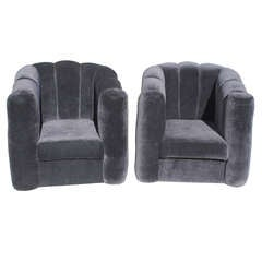 Pair of Art Deco Black Velvet Club Chairs
