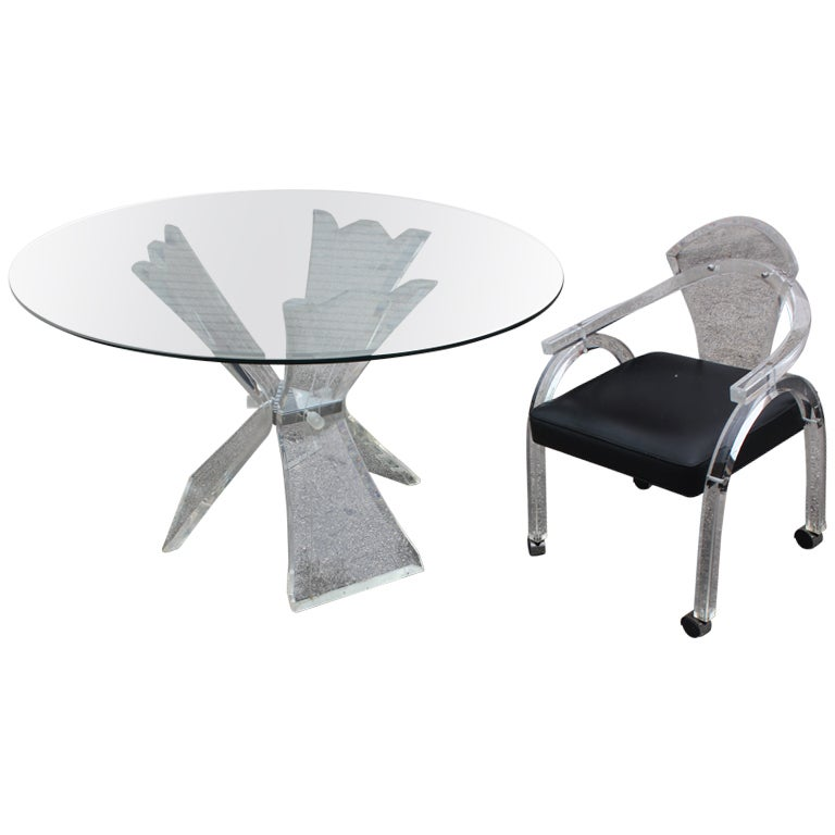 Mid Century Modern Lucite Table And 4 Lucite Chairs Set