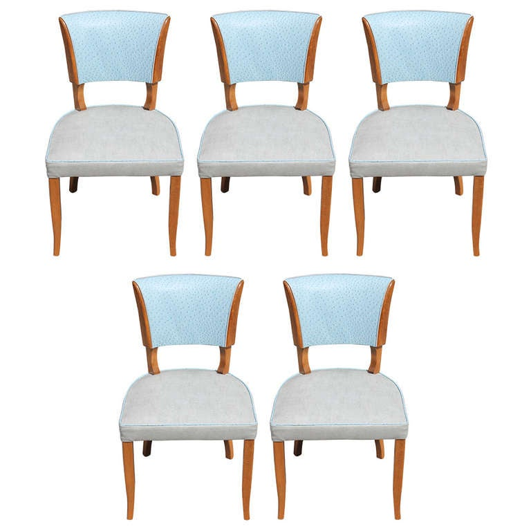 Set Of Five Fabulous French Art Deco Two Toned Leather Walnut Dining Chairs A