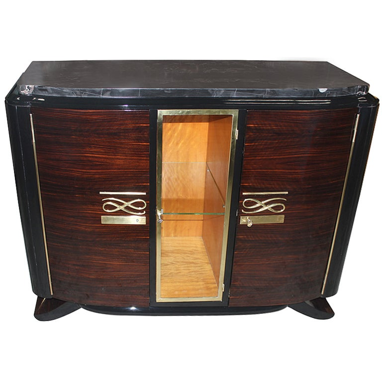 French art deco exotic macassar ebony buffet vitrine at for Sideboard vitrine