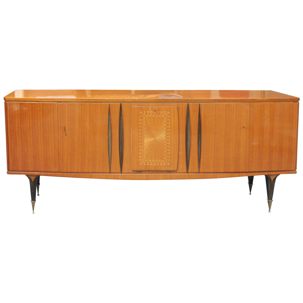french art deco sideboard buffet grand scale flame mahogany circa 1940 at 1stdibs. Black Bedroom Furniture Sets. Home Design Ideas