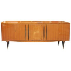 French Art Deco Sideboard / Buffet Grand Scale Flame Mahogany, circa 1940.